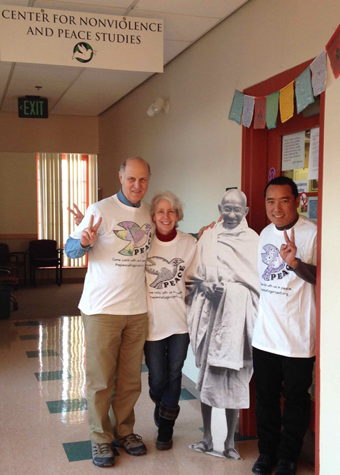 Paul, Kay and Thupten + Gandhi wearing t-shirts